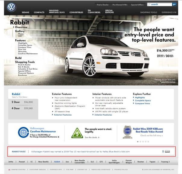 Volkwagon Buzz on Rabbit Home Page